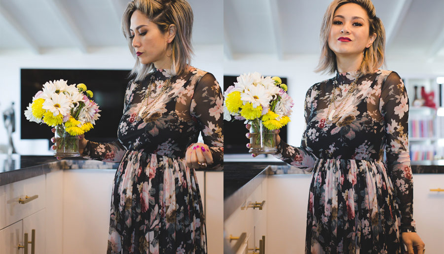 Maternity Style   Floral Mesh Dress